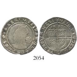 London, England, sixpence, Elizabeth I, fifth issue, 1588.