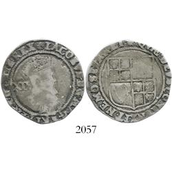 London, England, shilling, James I, second coinage, mintmark escallop (1606-7).