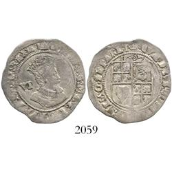 London, England, sixpence, James I (fourth bust), mintmark coronet, dated 1607.