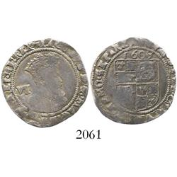 London, England, sixpence, James I (fourth bust), mintmark key, dated 1609.