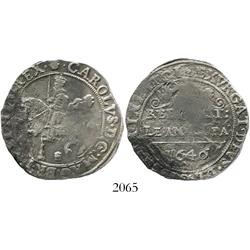Bridgnorth-on-Severn(?), England, half crown, Charles I, mintmark plume, dated 1646, very rare.