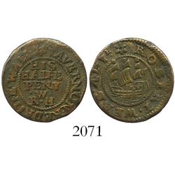 England (Rotherhithe, Surrey), copper halfpenny token (mid- to late 1600s), Robert Webb, rare.