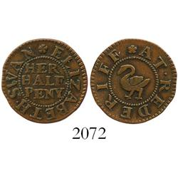 England (Rotherhithe, Surrey), copper halfpenny token (mid- to late 1600s), Elizabeth Swan.
