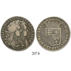 London, England, half crown, William and Mary, 1689 (first reverse).