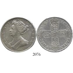London, England, half crown, Anne, 1703, with VIGO below bust.