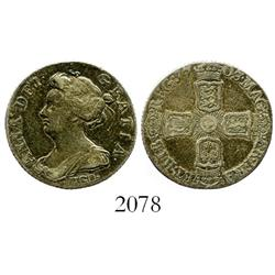 London, England, sixpence, Anne, 1703, with VIGO below bust.