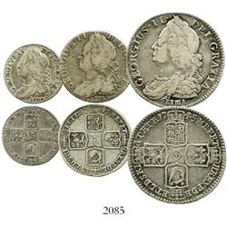 Lot of 3 London, England, George II issues with LIMA below bust: half crown 1745, shilling 1745, six