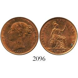 London, England, copper farthing, Victoria (young head), 1849, re-punched 4, rare (key date).