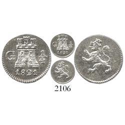 Guatemala, 1/4 real, Ferdinand VII, 1821.