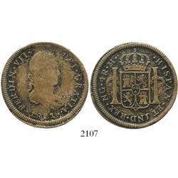 Guatemala, copper 4 reales die trial, Ferdinand VII, 1821M, struck ca. 1850s, rare.