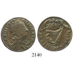 Ireland, copper half penny, Charles II, 1681.