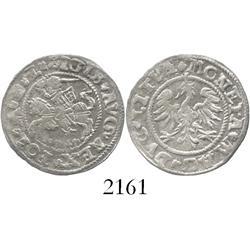 Lithuania, half groschen (pusgrasis), Sigismund II, 1545, very rare first date.