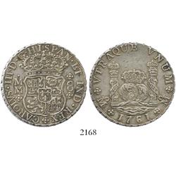Mexico City, Mexico, pillar 8 reales, Charles III, 1761MM, cross between I and S.