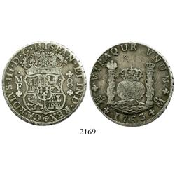 Mexico City, Mexico, pillar 8 reales, Charles III, 1763/2MF, scarce.