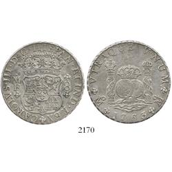Mexico City, Mexico, pillar 8 reales, Charles III, 1763MF.
