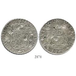 Mexico, pillar 8 reales, Charles III, 1764MF, with chopmarks.