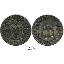 Mexico City, Mexico, pillar 2 reales, Philip V, 1737MF.
