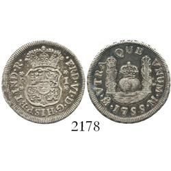 Mexico City, Mexico, pillar 1 real, Ferdinand VI, 1755M.