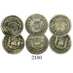 Lot of 3 Mexico City, Mexico, pillar 1/2R, Ferdinand VI and Charles III: 1748M, 1758M, 1760M.
