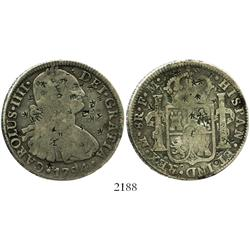 Mexico City, Mexico, bust 8 reales, Charles IV, 1794FM, loaded with tiny chopmarks.