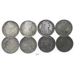 Lot of 4 Mexico City, Mexico, bust 8 reales, Charles IV: 1796FM, 1799FM (2, one with countermark), a