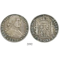"Mexico City, Mexico, bust 8 reales, Ferdinand VII (""armored"" bust), 1810HJ."