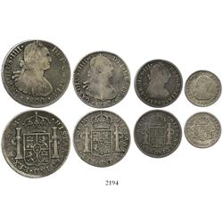 Denomination set (short) of 8-4-2-1 reales, Charles III-IV, all Fine or so, as follows: 8R 1800FM, 4