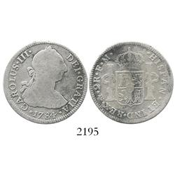 Mexico City, Mexico, bust 2 reales, Charles III, 1784FM, rare assayer.