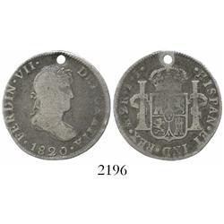 Mexico City, Mexico, bust 2 reales, Ferdinand VII, 1820JJ, rare.