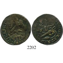 National Congress, Mexico, copper 2 reales, 1814.