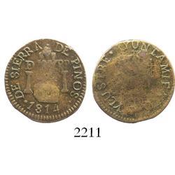 San Luis Potosi (Sierra de Pinos), Mexico, Ferdinand VII, copper 1/4 real, 1814.