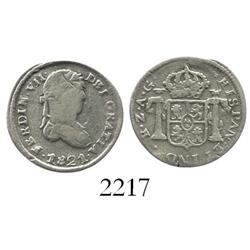 Zacatecas, Mexico, bust 1/2 real, Ferdinand VII, 1821AG, rare.