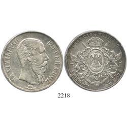 Mexico City, Mexico, 1 peso, Maximilian, 1867.