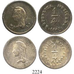 Lot of 2 Mexico 1/4R: 1843MoLR and 1847/5SLPi.