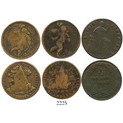 Lot of 3 State copper 1/4R: Zacatecas 1825 and 1832, Chihuahua 1865.
