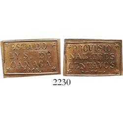 Oaxaca, Mexico, copper provisional 3 centavos, 1915, PROVISIO variety.