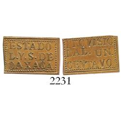 Oaxaca, Mexico, copper provisional 1 centavo, 1915.