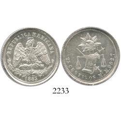 Mexico City, Mexico, 25 centavos, 1883M.