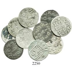 Lot of 10 Holland, Netherlands, 2 stuivers, various dates (1722, 1731, 1760, 1768, 1773, 1789, 1790,