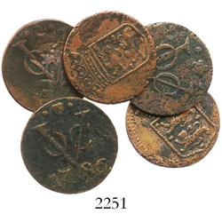 "Lot of 5 Dutch East India Co. copper duits, various mints, dated 1745-90, all from the ""Galle Fort t"