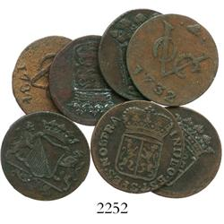 Lot of 6 Dutch East India Co. copper duits, various dates and mints (1732-91).