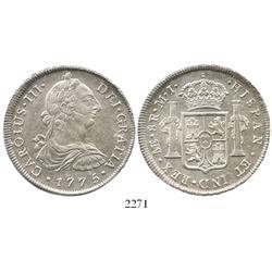 Lima, Peru, bust 8 reales, Charles III, 1775MJ.