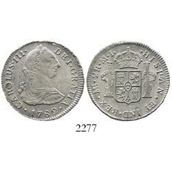 Lima, Peru, bust 2 reales, Charles III, 1782MI.