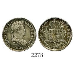 Lima, Peru, bust 1 real, Ferdinand VII, 1821JP.