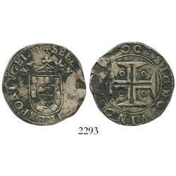 Lisbon, Portugal, tostao (100 reis), Sebastian (1557-78), large cross.