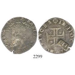 Porto, Portugal, 120 reis countermark (1642) on a Sebastian tostao (100 reis).