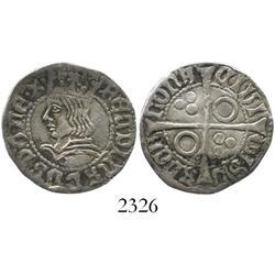 Barcelona, Spain, croat, Ferdinand V (1479-1516), legend as FERDINADVS D.G. REX (missing the second