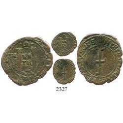 Barcelona, Spain, billon dinero, Charles V Emperor (1535 Tunisian campaign), very rare.
