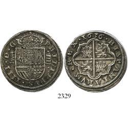 Segovia, Spain, milled 4 reales, Philip IV, 1636R.