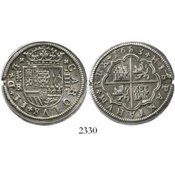 Segovia, Spain, milled 4 reales, Charles II, 1683BR.